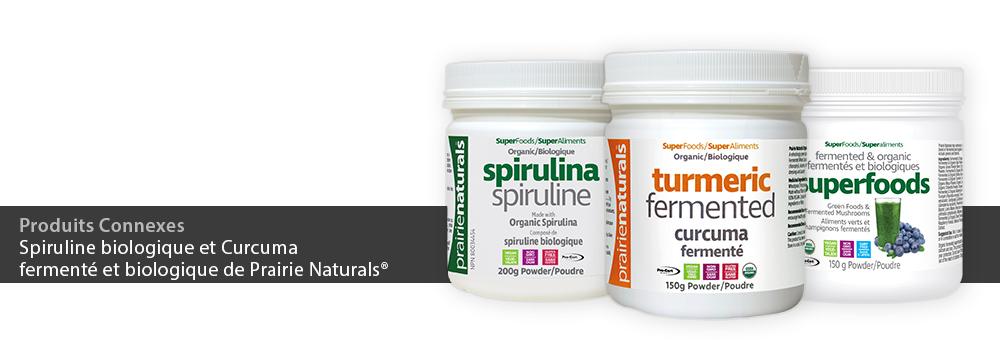 Spiruline biologique et Curcuma fermenté et biologique de Prairie Naturals