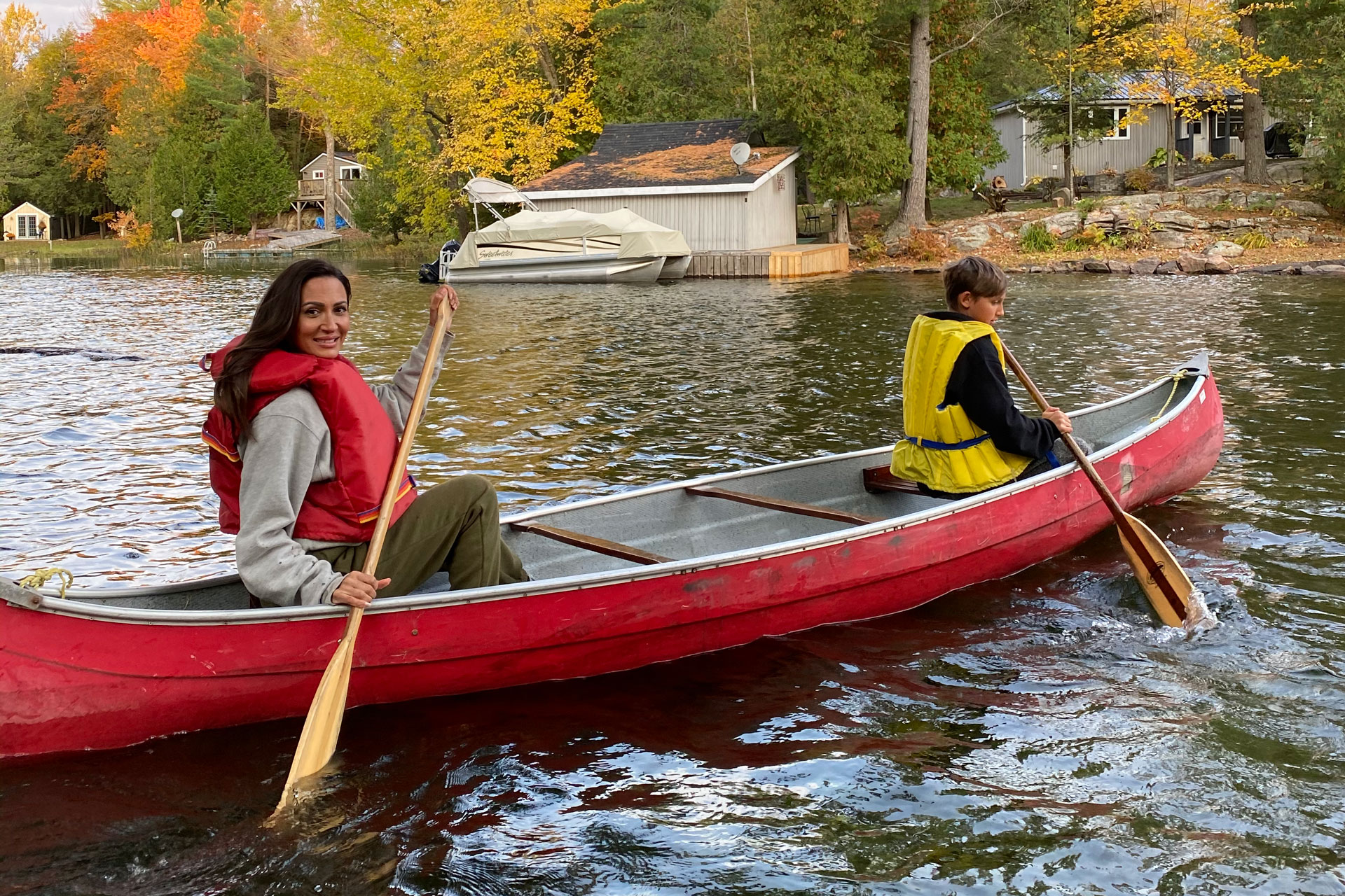 Sitara and her son canoeing